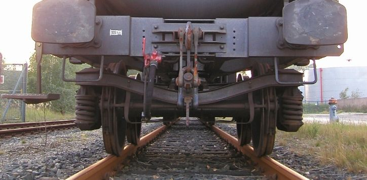rear view of a train braking system