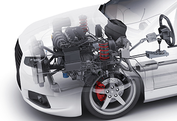transparent view of a passenger vehicle engine in the car